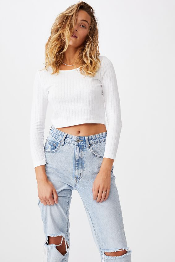 A Florence Long Sleeve Top, WHITE POINTELLE