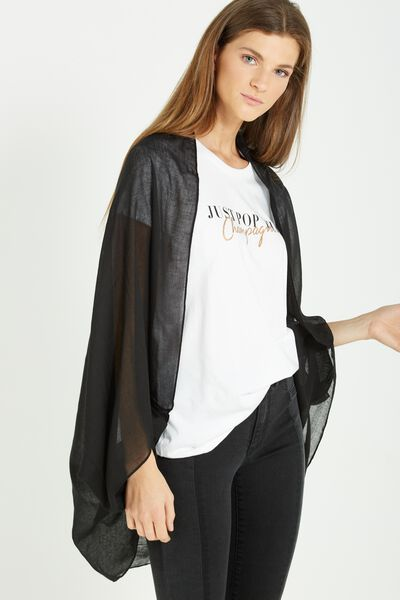 Trixy Cocoon Kimono, BLACK