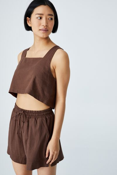 Day Dreamer Cropped Shell Top Petite, ACORN