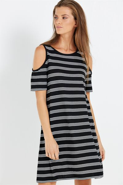 Leo Cold Shoulder Dress, BLACK/WHITE FREYA STRIPE