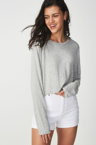 5c9f08e7 Baby Tee Long Sleeve, GREY MARLE. Cotton On Women