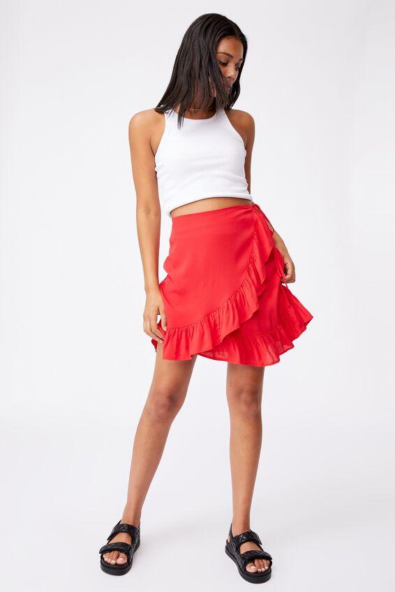 Naomi Frill Wrap Mini Skirt, LUCKY RED