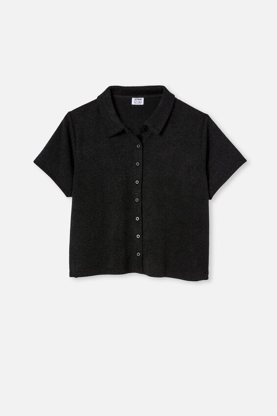 Curve Carmel Textured Polo Short Sleeve Top, BLACK