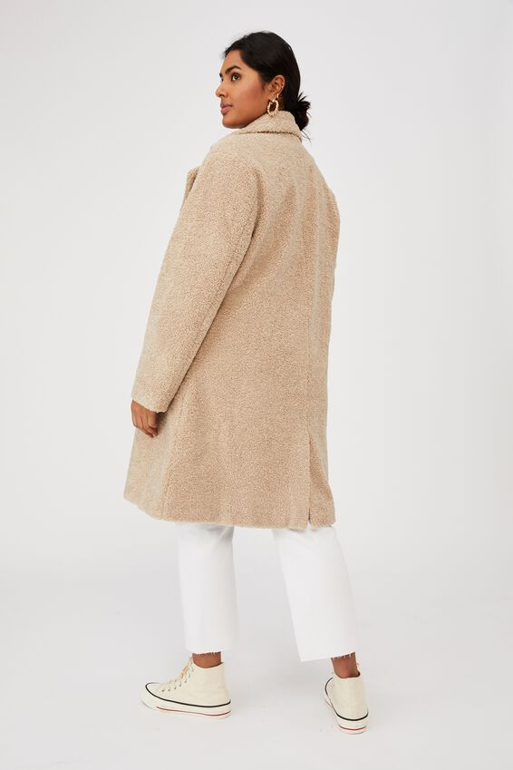 Curve Teddy Mid Coat, CREAM