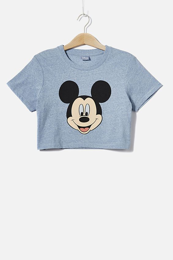Tbar Cara Graphic Crop T Shirt, LCN DIS MICKEY FACE/FOREVER BLUE