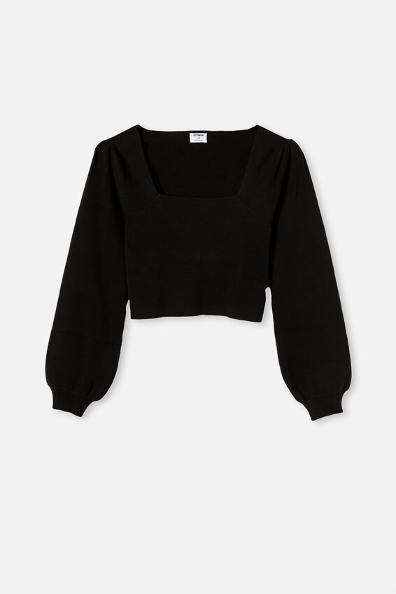 The Knit Girl Puff Long Sleeve, BLACK