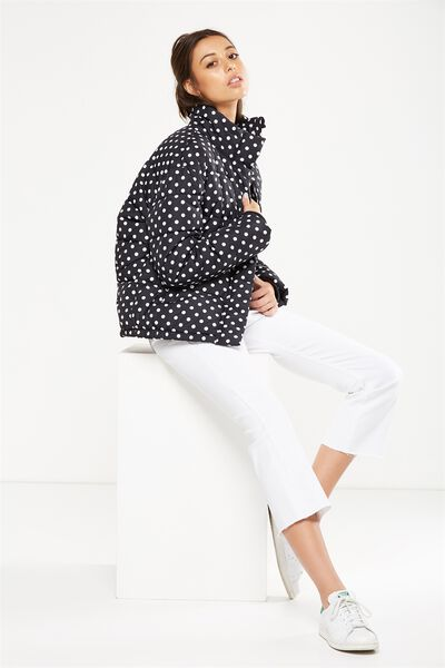 Harriet Puffer Jacket, LISA SPOT JET BLACK/WHITE