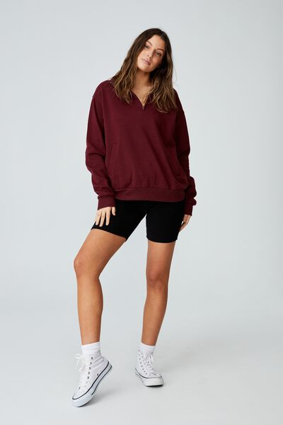 Classic ¼ Zip Sweatshirt, RICH BERRY