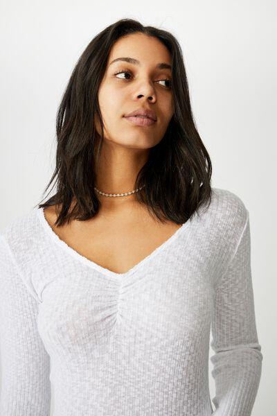 Neve Slub Rouched Long Sleeve Top, WHITE