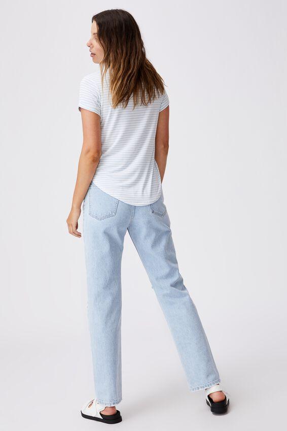 Kathleen Short Sleeve Top, aaron stripe white_daisy blue