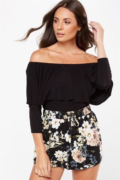 Polly Off The Shoulder Long Sleeve, BLACK