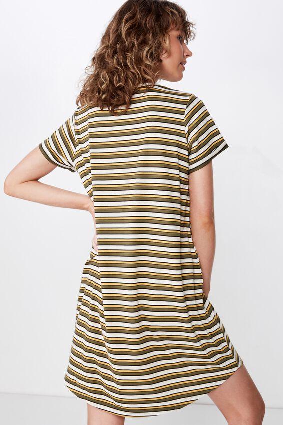 Tina Tshirt Dress 2, STEPH STRIPE WINTER MOSS