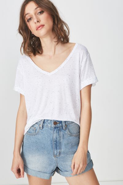 Karly Short Sleeve V Neck Top, WHITE/BLACK NEP