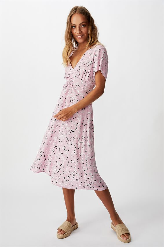 Woven Issa Gathered Front Midi Dress, MILLIE FLORAL KEEPSAKE LILAC
