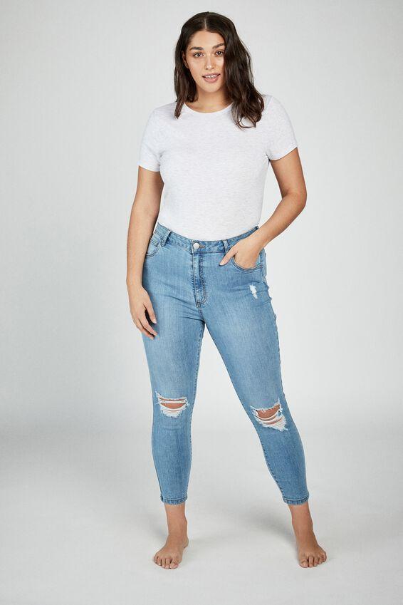 Curve Adriana High Skinny Jean, BLEACH BLUE RIPS