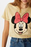 Tbar Cara Graphic Crop T Shirt, LCN DIS MINNIE FACE/PRARIE SAND