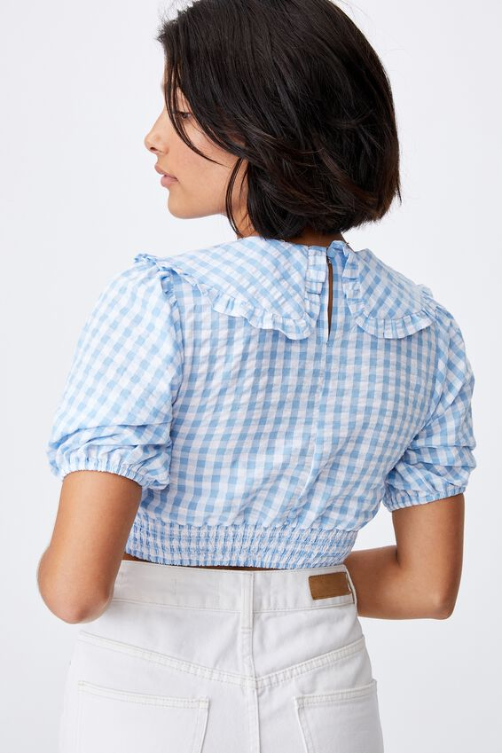 Lulu Frill Collar Shirred Blouse Petite, GERI GINGHAM COLLEGIATE BLUE