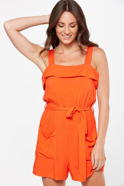 woven sally strappy romper, FLAMENCO
