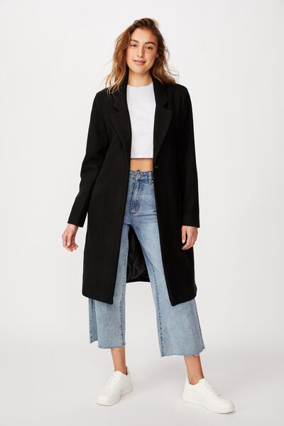 New Mid Length Coat, BLACK