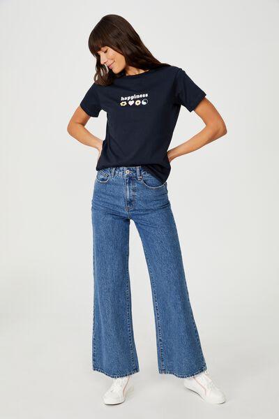 Classic Slogan T Shirt, HAPPINESS/MOONLIGHT