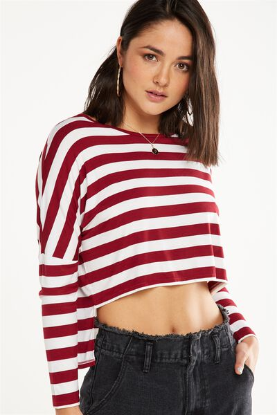 Millicent Long Sleeve Drop Shoulder Top, BLOCK STRIPE TIBETAN RED/WHITE