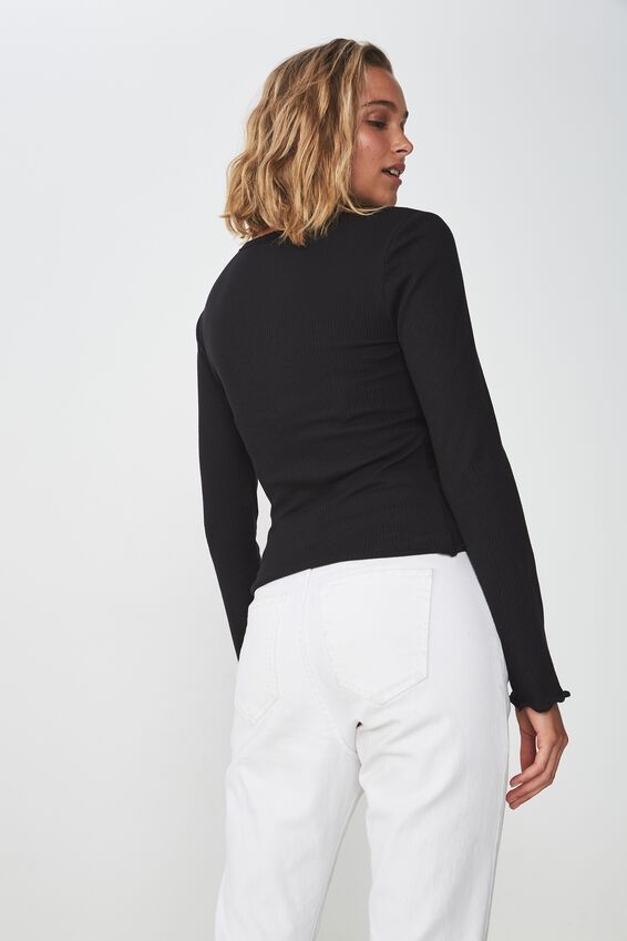 The Sister Long Sleeve Top, BLACK