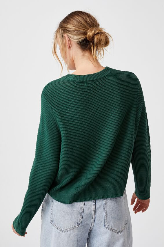 Cotton Cropped Pullover, WILLOW GREEN