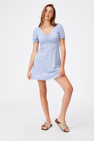Brianna Ruched Front Mini Dress, HILDA DITSY VINTAGE BLUE