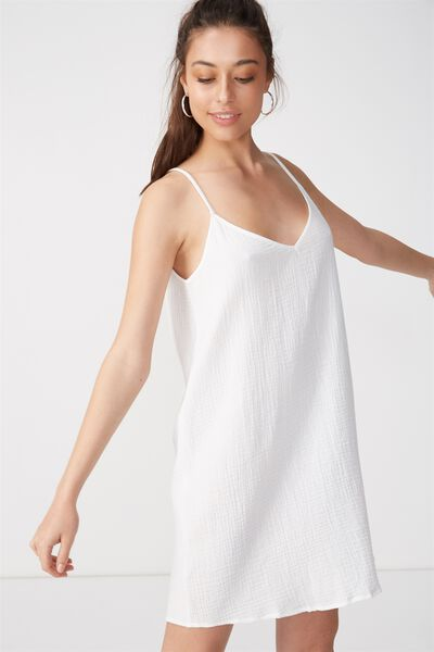 Woven Margot Slip Dress, WHITE-C