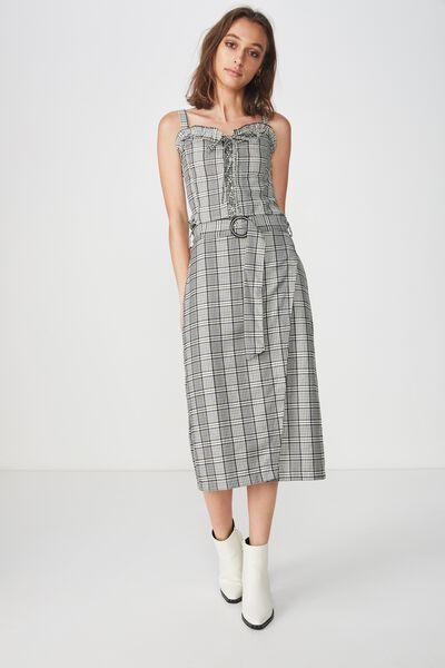 Woven Melanie Wrap Midi Skirt, NYLA CHECK CREAM