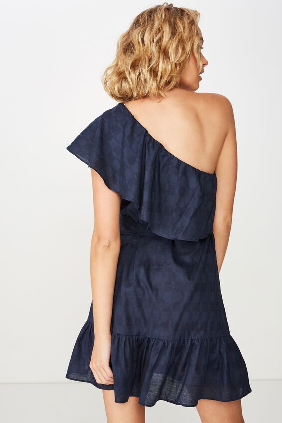Woven Romy One Shoulder Dress, MOOD INDIGO