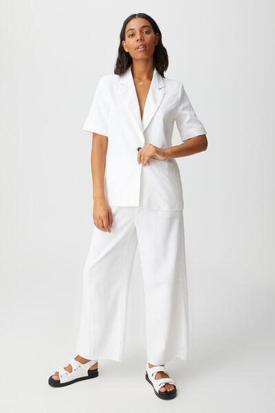 Ultimate Linen Short Sleeve Blazer, WHITE