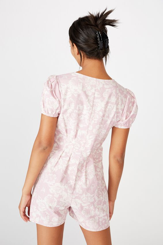 Woven Claudia Short Sleeve Playsuit, MAGNOLIA ORCHID