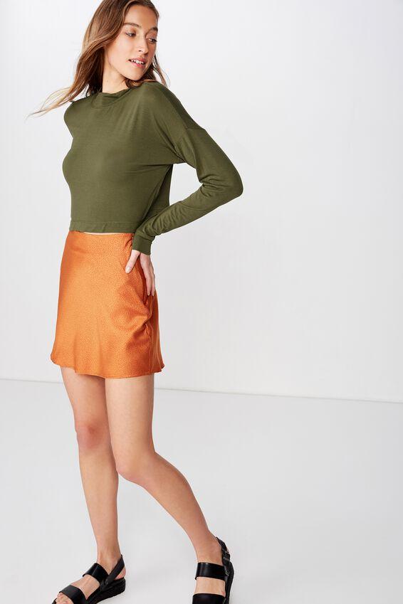 Woven Betty Bias Mini Skirt, CAMILLE SPOT RUST TAN