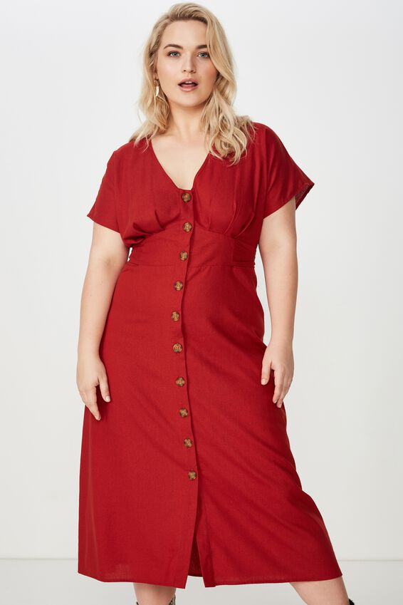 Curve Button Front Midi Dress, RUBY WINE