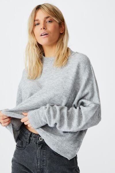 Luxe Fine Gauge Mock Neck Pullover, GREY MARLE