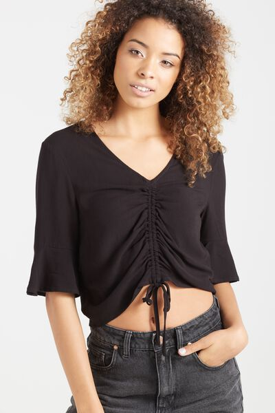 Maddie Rouched Tie Front Top, BLACK