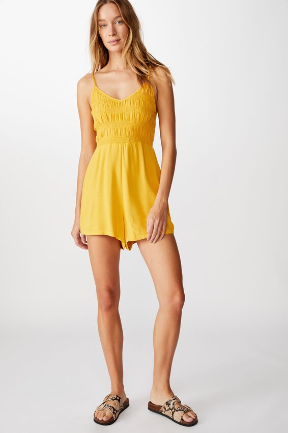 Woven Penelope Strappy Playsuit, MINERAL YELLOW