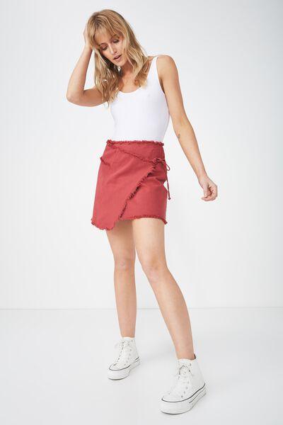 Wrap Denim Mini Skirt, ROSEWOOD