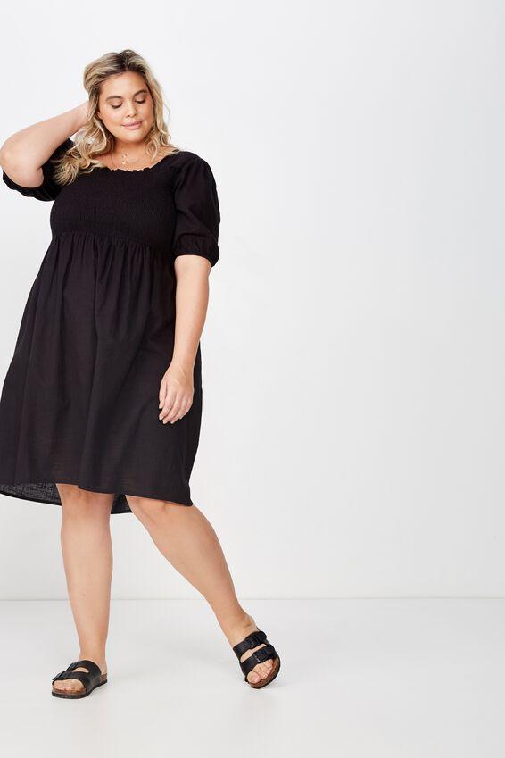 Curve Shirred Puff Sleeve Dress, BLACK