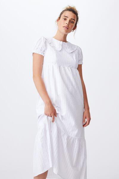 Woven Nori Babydoll Wide Collar Medaxi Dress, WHITE