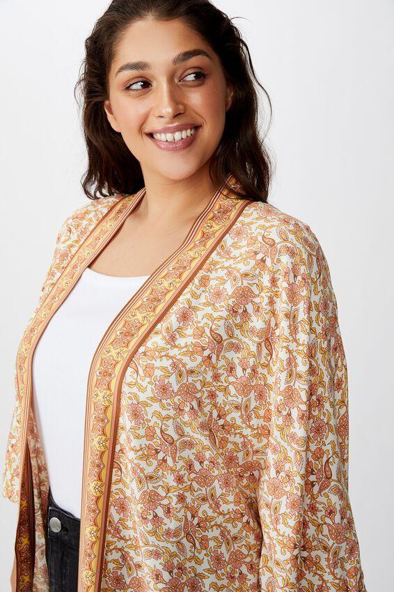 Curve Wanderlust Kimono, ALANA FLORAL BORDER APRICOT ICE