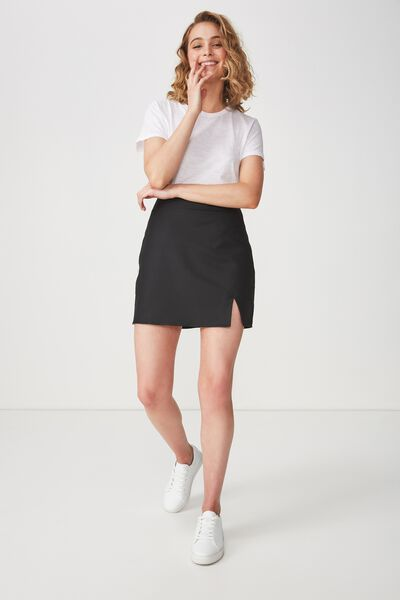 Woven Casual Mini Skirt, BLACK STRIPE TAPE
