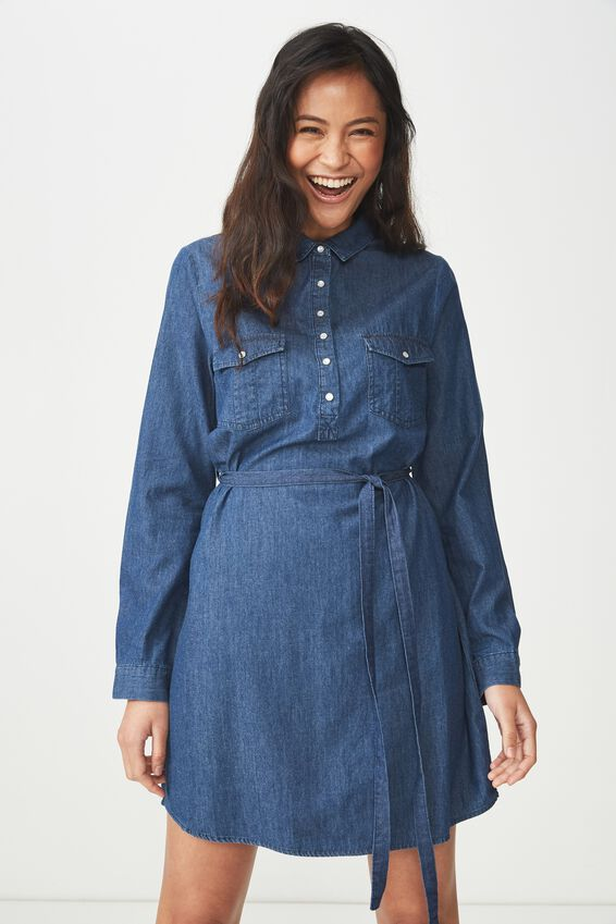 Woven Tammy Long Sleeve Shirt Dress, DARK DENIM