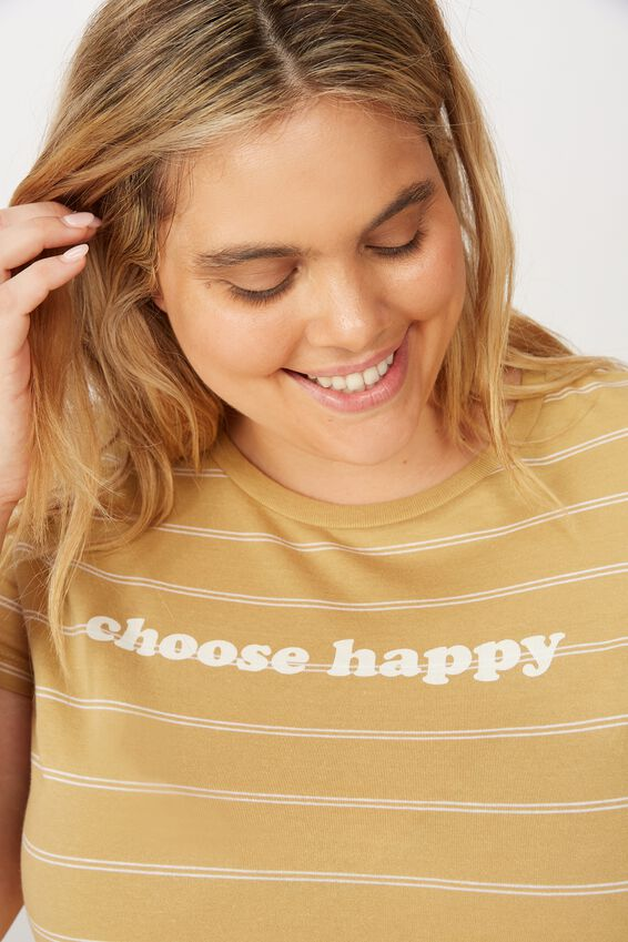 Curve Graphic Fitted Tee, CHOOSE HAPPY PRARIE SAND/WHITE STRIPE