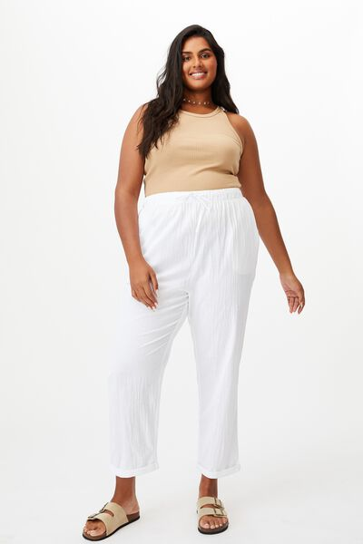 Curve Beach Pull On Pant, WHITE