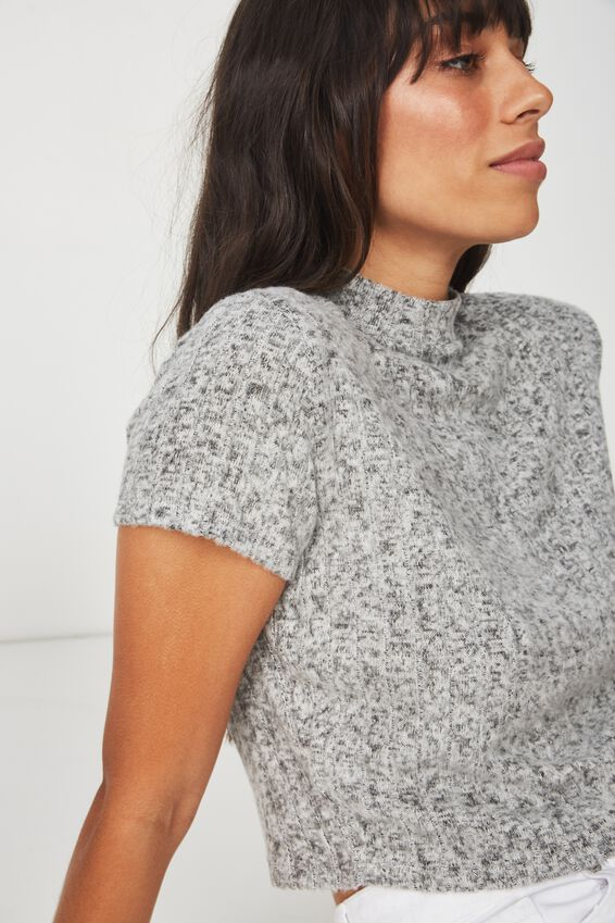 Mock Neck Texture Short Sleeve, GREYS FLECK