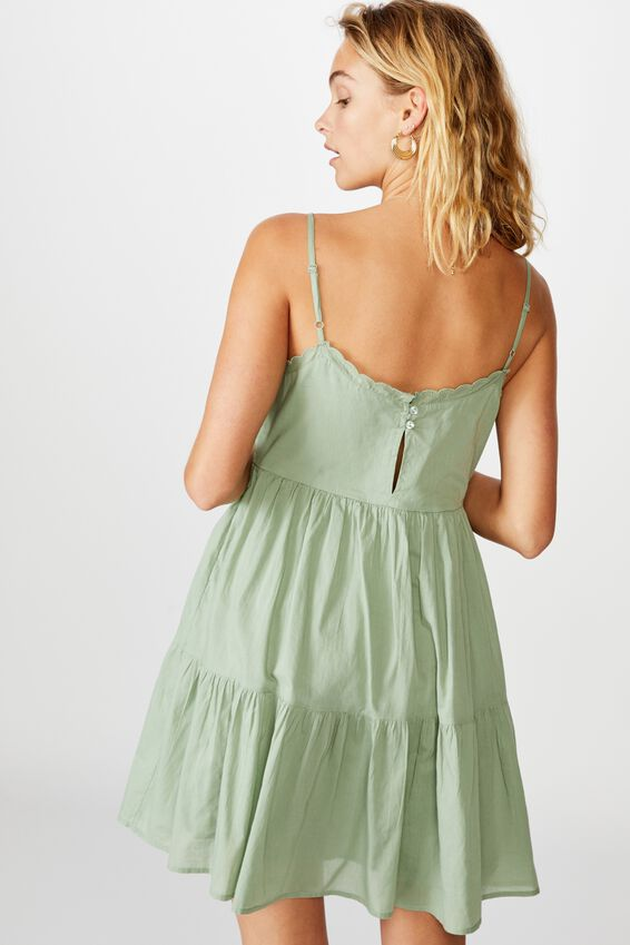 Woven Birdie Tiered Mini Dress, GREEN BAY