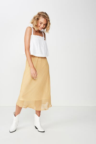 Woven Bella Bias Midi Skirt, ABBY GINGHAM TAFFY