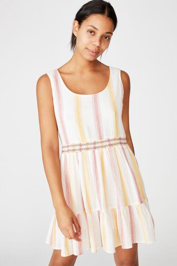 Woven Bronwyn Sleeveless Tiered Mini Dress, LOLA STRIPE MANGO/STITCH